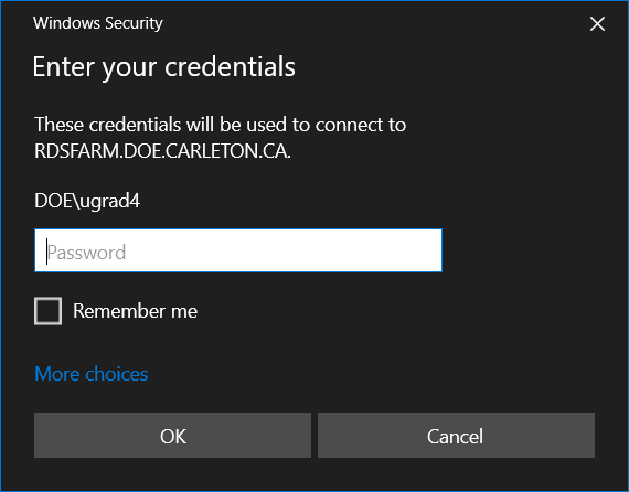 Credentials prompt